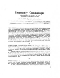 COMMUNITY COMMUNIQUE APRIL 1974