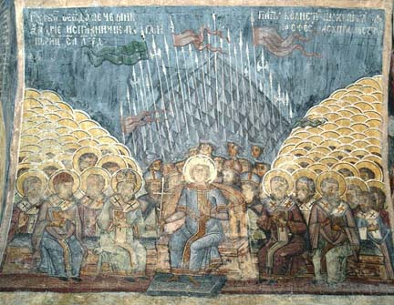 Council of Constantinople 381, fresco from Stavropoleos Church, Bucharest, Romania