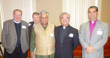 At the bi-annual interfaith clergy luncheon at Our Lady of Snows Parish Center Reno on October 17, 2013, from left to right, are: Episcopal Pastor Rick Millsap, Presbyterian Pastor Howard R. Dotson, Hindu statesman Rajan Zed, Roman Catholic Bishop Randolph R. Calvo and International Community of Christ Bishop Gene Savoy Junior.