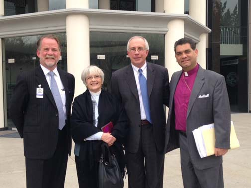 Michael Hillerby, Rebecca Wilis, Pat Hickey, and Gene Savoy Jr. In front of the Nevada Legislature building after the Nevada Assembly Taxation Committee hearing. PHOTO: Ted Staver