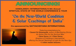 Announcing Cosolargy® International's 6th Annual  SPIRITUAL STATE OF THE WORLD CONFERENCE & TOUR