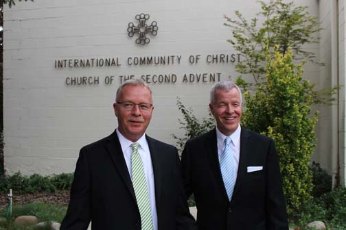Rev. Greg Klinedinst and Stan Waltemeyer in front of the Chapel entrance following their marriage
