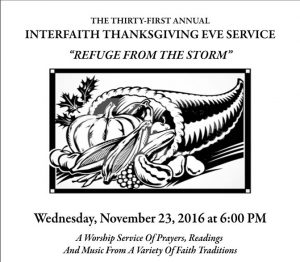 You Are Invited to the 2016 Interfaith Thanksgiving Eve Service
