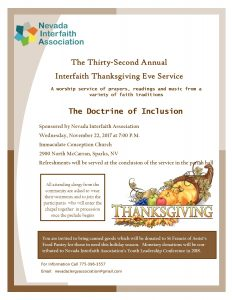 32nd Annual Thanksgiving Eve Service Announced