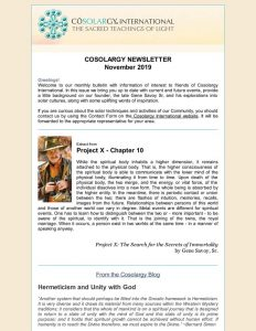 Cosolargy Newsletter 2019, Issue 3: November